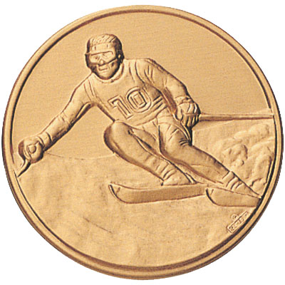 1 Inch Stamped Male Down Hill Skier Medallion Insert Disc