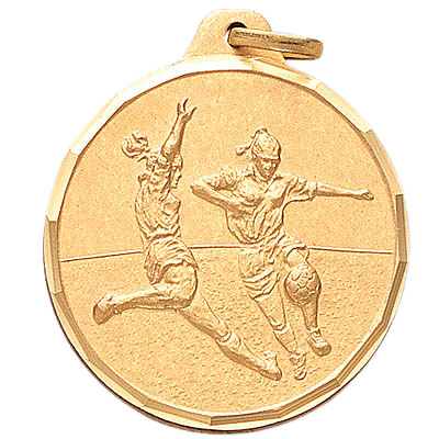 1-1/4 Inch Diamond Cut Border Female Soccer Players Medal