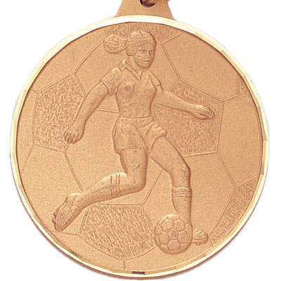 2 Inch Diamond Cut Border Female Soccer Player Medal