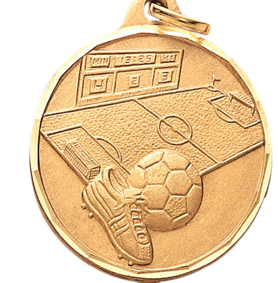 1-1/4 Inch Diamond Cut Border Soccerball, Field, and Cleats Medal