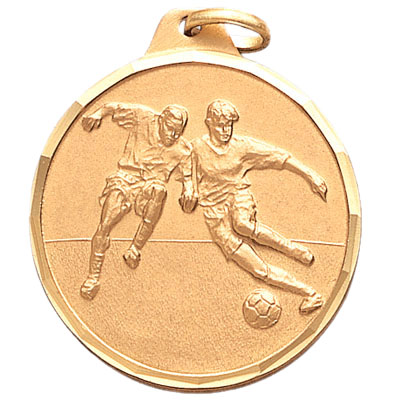 1-1/4 Inch Diamond Cut Border Male Soccer Players Medal