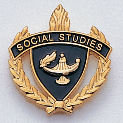 "1 Inch Gold ""Social Studies"" with Lamp of Learning and Wreaths Enameled Lapel Pin"