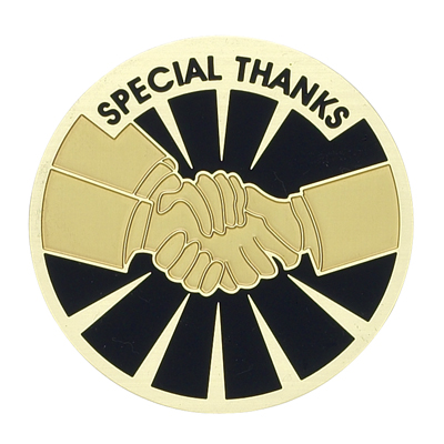 """2 Inch Etched Enameled  """"Special Thanks"""" Handshake Medallion Insert Disc"""