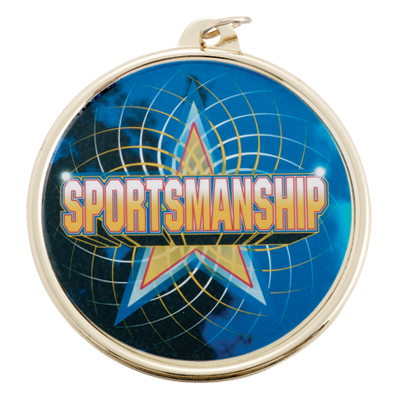 "2-1/4 Inch Medal Frame with 2 Inch ""Sportsmanship"" with Star Mylar Insert Label"