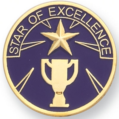 """1 Inch Round """"Star of Excellence"""" Lapel Pin"""