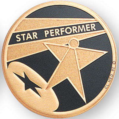 "2 Inch Litho Embossed  ""Star Performer"" Medallion Insert Disc"