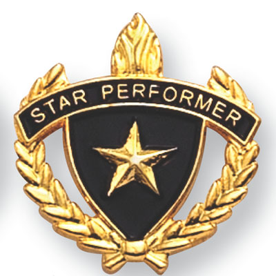 "1 Inch Gold ""Star Performer"" with Lamp of Learning and Wreaths Enameled Lapel Pin"