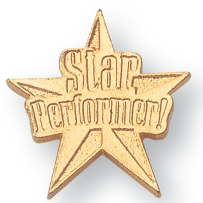 """7/16 Inch Gold """"Star Performer"""" on Star Chenille Pin"""