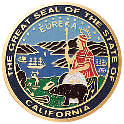 7/8 Inch Etched Enameled State Seal of California Medallion Insert Disc