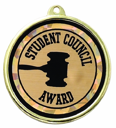 "2-1/4 Inch Medal Frame with 2 Inch ""Student Council Award"" with Gavel Mylar Insert Label"