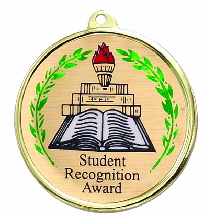 "2-1/4 Inch Medal Frame with 2 Inch ""Student Recognition Award"" with Torch, Wreaths and Books  Mylar Insert Label"
