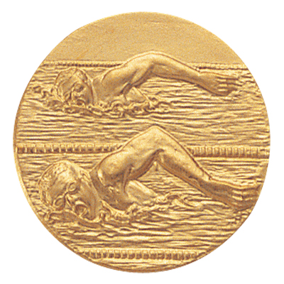 "1 Inch Stamped Male  ""Free Style Stroke"" Swimmers Medallion Insert Disc"