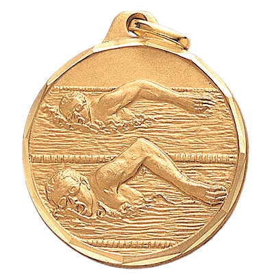 1-1/4 Inch Diamond Cut Border Male Freestyle Swimmer Medal