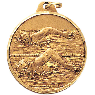 1-1/2 Inch Diamond Cut Border Male Free Style Swimmer Medal