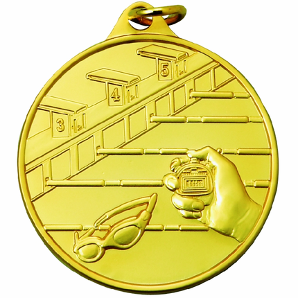 1-1/2 Inch Scalloped Border Swimming Lanes, Goggles, and Stopwatch Medal