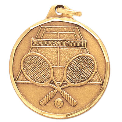 1-1/4 Inch Diamond Cut Border Tennis Raquet and Court Medal