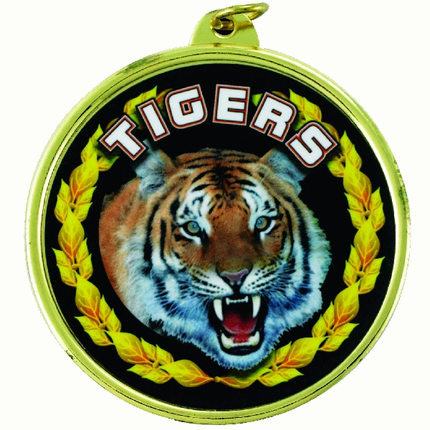 "2-1/4 Inch Medal Frame with 2 Inch ""Tigers"" Mascot Mylar Insert Label"