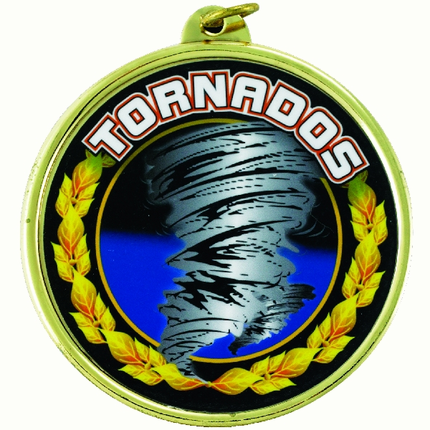 "2-1/4 Inch Medal Frame with 2 Inch ""Tornados"" Mascot Mylar Insert Label"