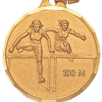 1-1/4 Inch Diamond Cut Border Female 100 Meter Track Hurdler Medal