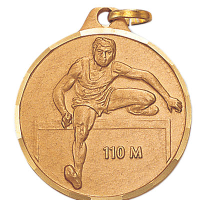1-1/4 Inch Diamond Cut Border Male 100 Meter Track Hurdler Medal