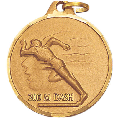 1-1/4 Inch Diamond Cut Border Female 200 Meter Dash Track Runner Medal
