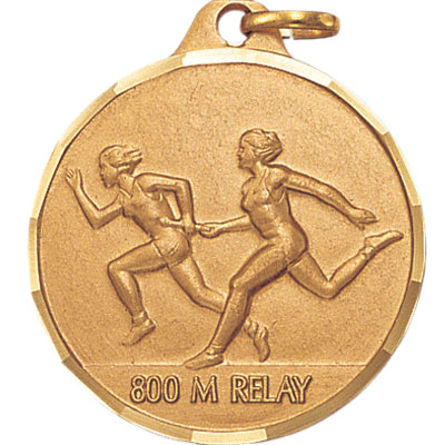 1-1/4 Inch Diamond Cut Border Female 800 Meter Relay Track Runner Medal
