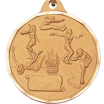1-1/4 Inch Diamond Cut Border Female Track and Field Events with Bottom Scroll Medal