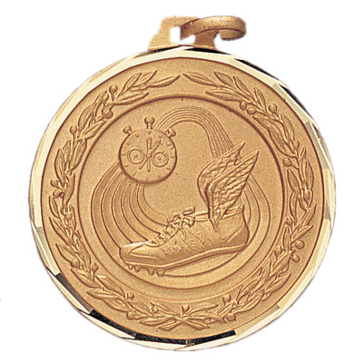 1-1/4 Inch Diamond Cut and Wreath Border Track, Stopwatch, and Cleat Medal