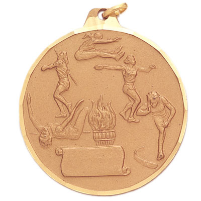 2 Inch Diamond Cut Border Female Track Events and Scroll Medal