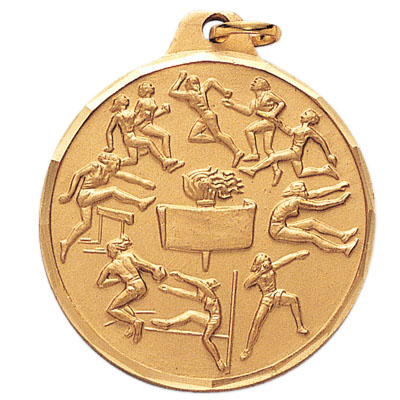 1-1/2 Inch Diamond Cut Border Female Track and Field Events Medal