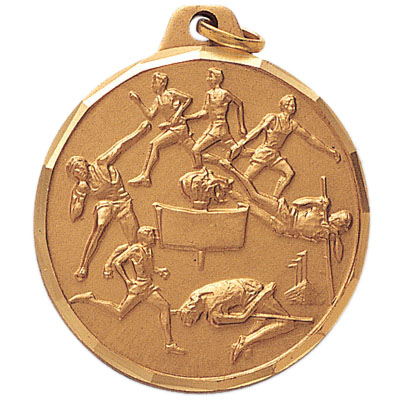 1-1/2 Inch Diamond Cut Border Male Track and Field Events Medal