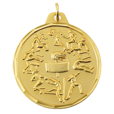 1-1/2 Inch Scalloped Border Female Track and Field Events Medal