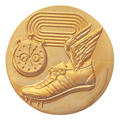 1 Inch Stamped Field Track, Timer and Track Cleats with Wings  Medallion Insert Disc