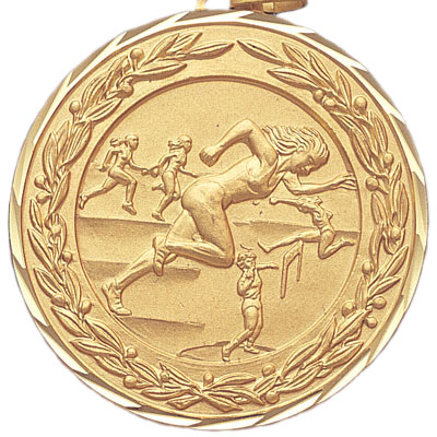 2 Inch Diamond Cut and Wreath Border Female Track and Field Competitor Medal