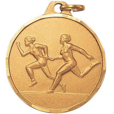 1-1/4 Inch Diamond Cut Border Female Relay Track Runner Medal