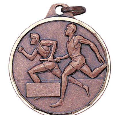 1-1/4 Inch Diamond Cut Border Male Relay Track Runnder Medal