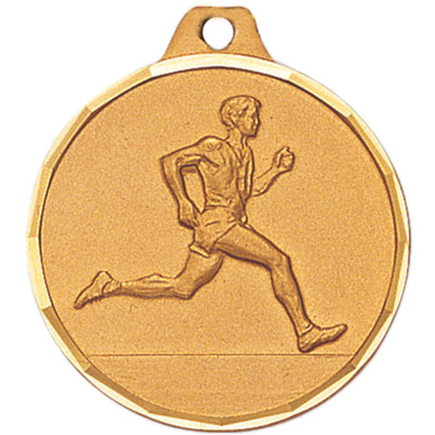 1-1/4 Inch Diamond Cut Border Male Track Runner Medal