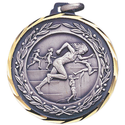 1-1/4 Inch Diamond Cut and Wreath Border Female Track Runners with Wreath Border Medal