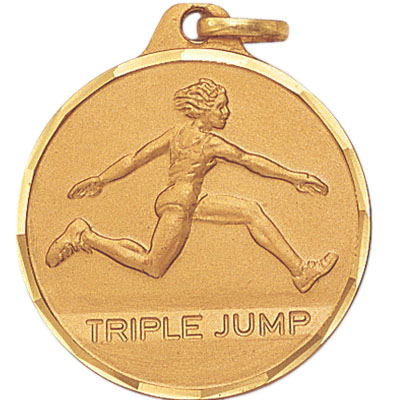 "1-1/4 Inch Diamond Cut Border ""Triple Jump"" with Female Track Jumper Medal"