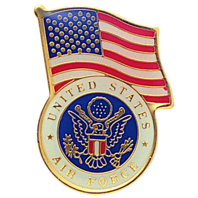 1-1/8 Inch U.S. Air Force with American Flag Enameled Lapel Pin