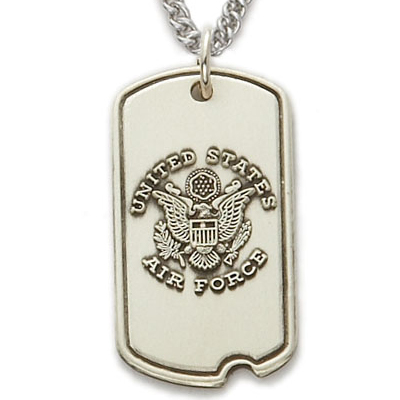 1-1/16 Inch Sterling Silver U.S. Air Force Dog Tag with Cross