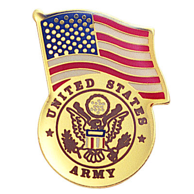 1-1/8 Inch U.S. Army with American Flag Enameled Lapel Pin