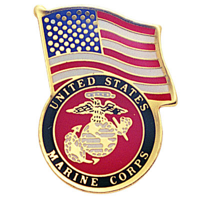 1-1/8 Inch U.S. Marine with American Flag Enameled Lapel Pin