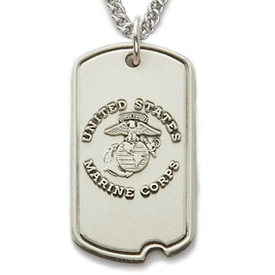 1-1/16 Inch Sterling Silver U.S. Marine Corps Dog Tag with Plain Back