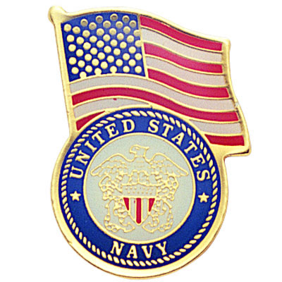 1-1/8 Inch U.S. Navy with American Flag Enameled Lapel Pin
