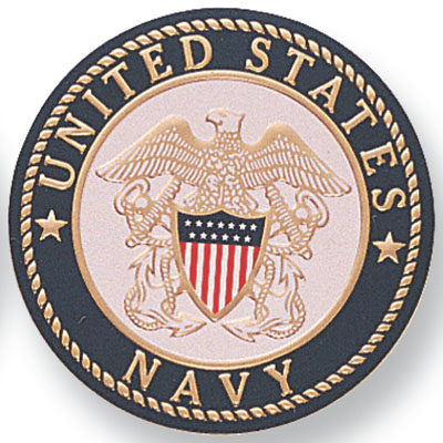 7/8 Inch Etched Enameled Seal of U.S. Navy  Medallion Insert Disc