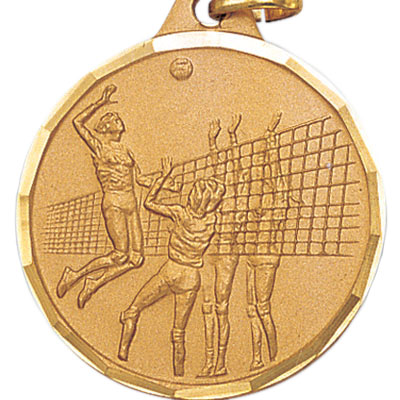 1-1/4 Inch Diamond Cut Border Female Volleyball Player Spiking Medal