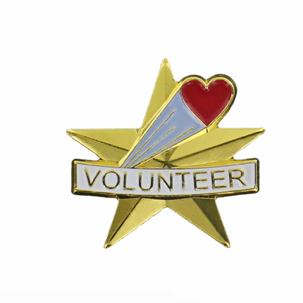 """1 Inch Gold """"Volunteer"""" Star and Heart Pin"""
