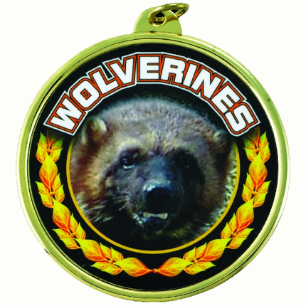 """2-1/4 Inch Medal Frame with 2 Inch """"Wolverines"""" Mascot Mylar Insert Label"""