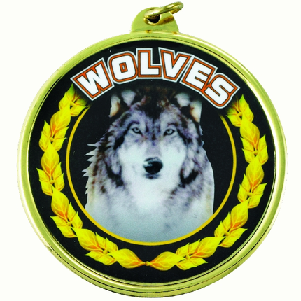 "2-1/4 Inch Medal Frame with 2 Inch ""Woves"" Mascot Mylar Insert Label"